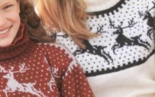 Свитер с оленями спицами для детей и взрослых