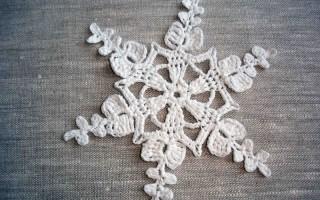 Схема снежинки крючком с пошаговым описанием процесса