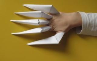 Как сделать когти из бумаги в технике оригами