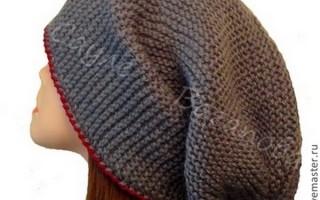 Шапка-мешок спицами со схемой для быстрого процесса вязания