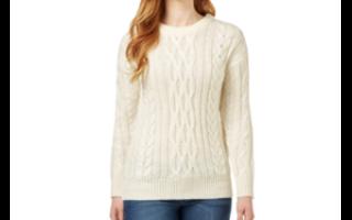 Белый свитер крупной вязки для холодных зимних вечеров