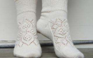 Ажурные носки спицами со схемами
