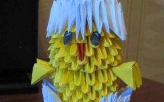 Модульное оригами цыпленка в скорлупе
