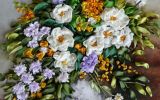 Схемы вышивки картин лентами